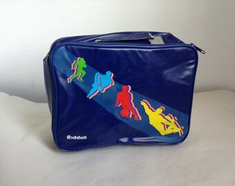 80's Blue Riddell Action Sports Insulated Lunch Box