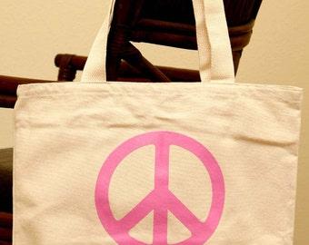 Peace sign, tote bag, purse, grocery, handbag
