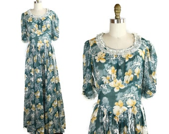 1930s Dress / Vintage Yellow Iris Day Dress / 30s Teal and Yellow Garden Lawn Party Dress / Maxi Dress