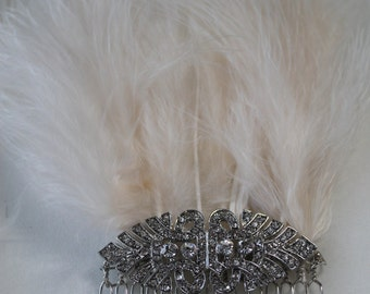 Gatsby Inspired Diamanté and Feathers Hair Comb