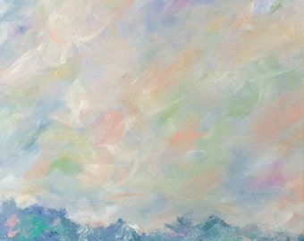 Original Abstract Landscape Pastel Blue Green Teal 16 x 20 Contemporary Seascape Painting
