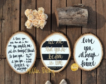 wood slice painting set of 3 wedding decor sign set wall decor wall hanging wall art rustic chic hand lettering modern calligraphy art sign