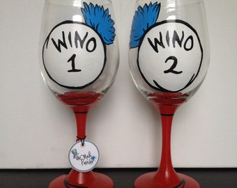 Wino Glass - Wino 1 - Wino 2 - Dr. Suess Gift - Best Friend Gift - Best Friend Wine Glasses - Best Friend Glass - Wine Lover Gift