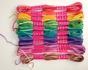 10 Skeins of Variegated Tie-Dye Craft Thread Embroidery Floss