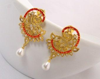 Orange Pearl Dangle Stone Earrings