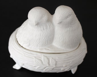 Porcelain Bisque-ware BIsquit Covered Dish, with 2 birds.