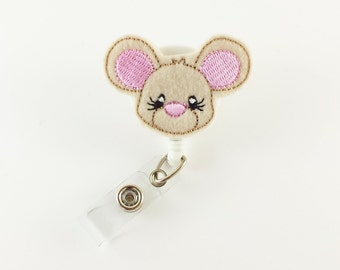 Mouse - Felt Badge Reel - Retractable ID Badge - Cute Badge Reels - Nurse Badge Holder - RN - Name Badge Reel - Badge Clip - Feltie ID Badge