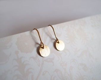 Tiny Gold Dangle Circle Earrings - Gift for Her