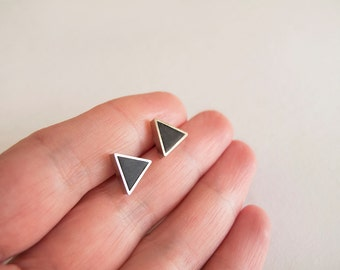 Black Silver Triangle Stud Earrings - Hypoallergenic Surgical Steel Posts
