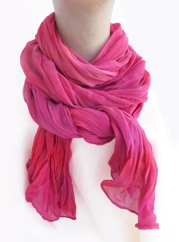 """Hot pink crinkle chiffon scarf - silk chiffon scarf - crinkle scarf - hot pink, fuchsia, orange red - hand dyed - large - 17"""" x 74"""""""