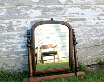 Antique Mahogany Wood Framed Mirror
