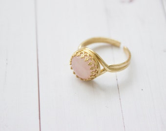 Dainty Brass Rose Quartz Golden Adjustable Ring