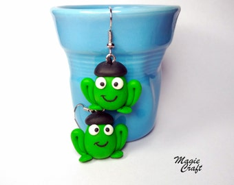 Frogs with french beret earrings, Polymer Clay