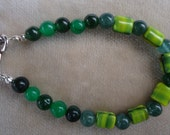 Green Gemstone and Glass Beaded Bracelet- Item can be made longer upon request
