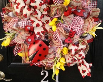 Large Whimsical Spring Summer Mothers Day Mesh Wreath Ladybug Burlap Red Black Yellow Floral Ribbon Bow
