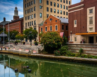 Buildings along the Providence River in Providence, Rhode Island - Urban Architecture Photography Fine Art Print or Wrapped Canvas