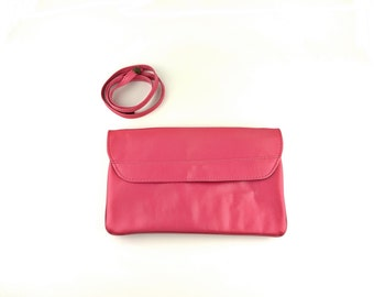 Pink Clutch Shoulder Bag With Optional Strap - 1970s Unused Condition!