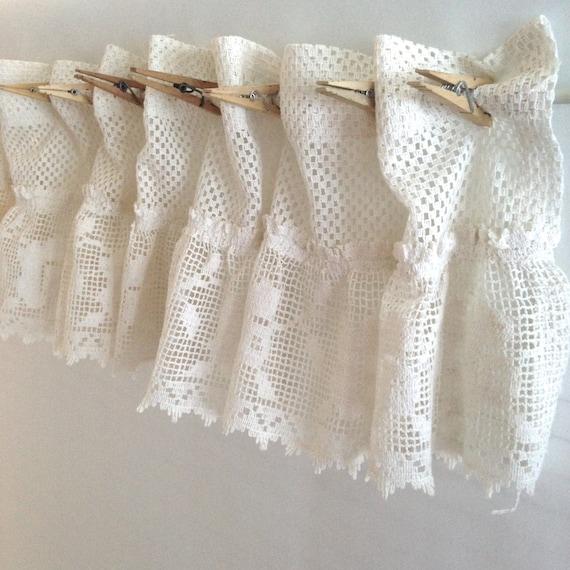 shabby chic cotone crochet tenda di merletto cafe; avorio bianco ...