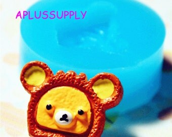 GYL042 Kawaii Bear Cake Silicone Mold Push Mould Miniature Food Sweets Cupcake Jewelry Charms (Polymer Clay, Resin Candy)