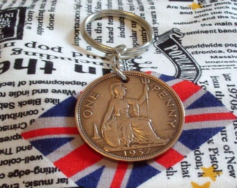 1937 1d 1d Old Penny English Coin Keyring Key Chain Fob King George VI