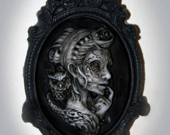 Day of the Dead - Owl - Gypsy - Owl Girl Cameo - Skeleton Lady Cameo - Victorian Cameo
