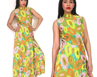 Vintage 60s 70s Psychedelic Floral Maxi Dress Palazzo Jumpsuit Hippie Festival