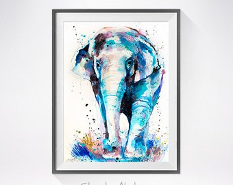 Asian Elephant watercolor painting print, animal watercolor, animal painting, animal art, animal portrait, Asian Elephant painting
