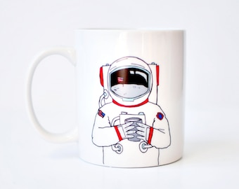 Astronaut mug - hand painted white 11oz cute coffee america space mug birthday bday gift