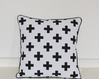 Modern decorative cushion cover, monochrome black crosses on white. Swiss cross. Throw pillow. Kids pillow. FREE UK DELIVERY.