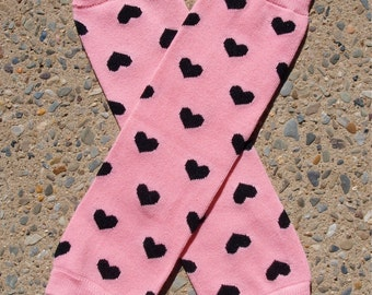 Leg Warmers - Pink with Black Hearts