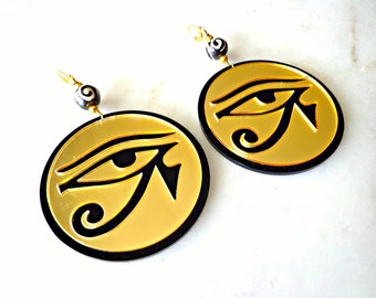 Golden Eye Of Horus Earrings, Third Eye Earrings, Egyptian Jewelry, Laser Earrings, Statement Jewelry