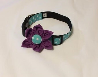 "Dog Flower Collar ""The Jewel"" with PURPLE flower"