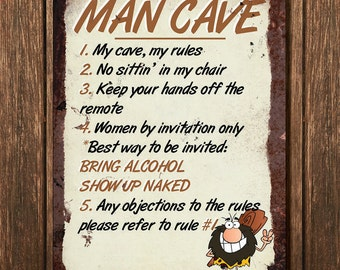 Vintage Metal Wall Sign - Man Cave (RULES00009)