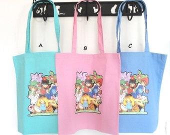 shopper bag 100% cotton Alice in wonderland, my original paint stamp Cat Chesire White Rabbit kawaii Fairy Tale