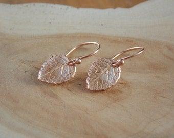 Rose Gold Leaf Earrings / Leaf Earrings / Small Rose Gold Earrings / Rustic Earrings / Rustic Earrings / Flower Petal Earring / Leaf Jewelry