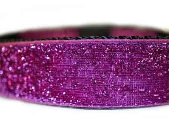 """Glitter Dog Collar 1""""  Pink Dog Collar"""