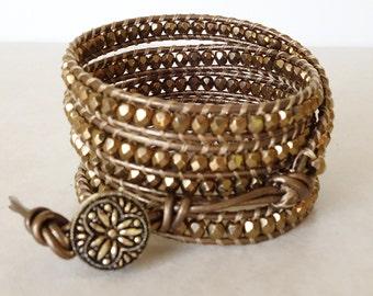 Bronze/gold wrap/ Boho 5 wrapped leather bracelet/ Bohemian Czech glass beaded ladder yoga bracelet-nickel free jewelry