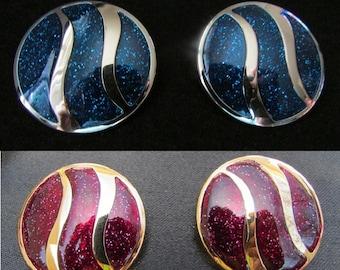 Bold Avon Earrings, Color Sensation, 1982 Modern Earrings, Large Silver, Blue Glitter Gold, Fuchsia Swirl, Retro Jewelry, Free US Shipping