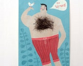 postcard Handsome Herbert -  with real chesthair! - special greeting card - Macho postcard - strong man - bird - hair