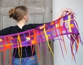 Nuno felted spring funny scarf, purple orange yellow geometric design with long dreadlocks . OOAK