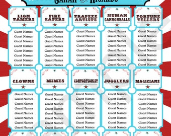 Wedding Seating Chart//Carnival Themed Seating Chart // Circus Theme// Carnival//Digital or Printed//Item CC-0016red