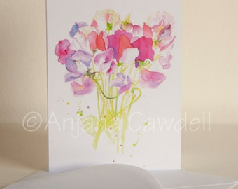 Sweetpea - Blank Greetings Card, Flower Card, Floral Card, Sweetpea Watercolour Card, Sweetpea Painting