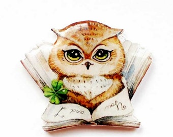 Back to school Jewelry Gift For Daughter Baby Girl Gift Owl Brooch Pin owl jewelry animal jewelry Owl and book Animal brooch Free shipping
