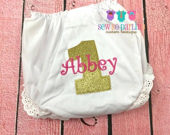 1st Birthday Diaper Cover - Pink and Gold Birthday Diaper Cover - Baby Girl Bloomers