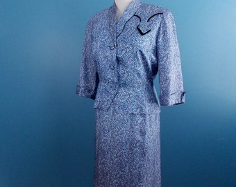 Price Reduced** 1960's Blue Print Dress & Jacket Set **Mint Condition** A Mendel Creation