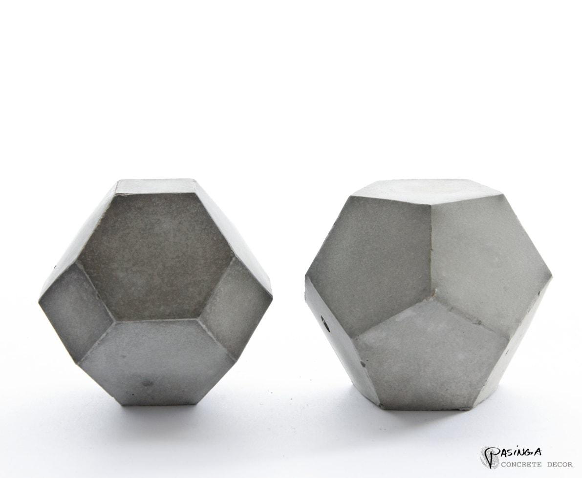 geometric concrete decor modern concrete art set of two. Black Bedroom Furniture Sets. Home Design Ideas