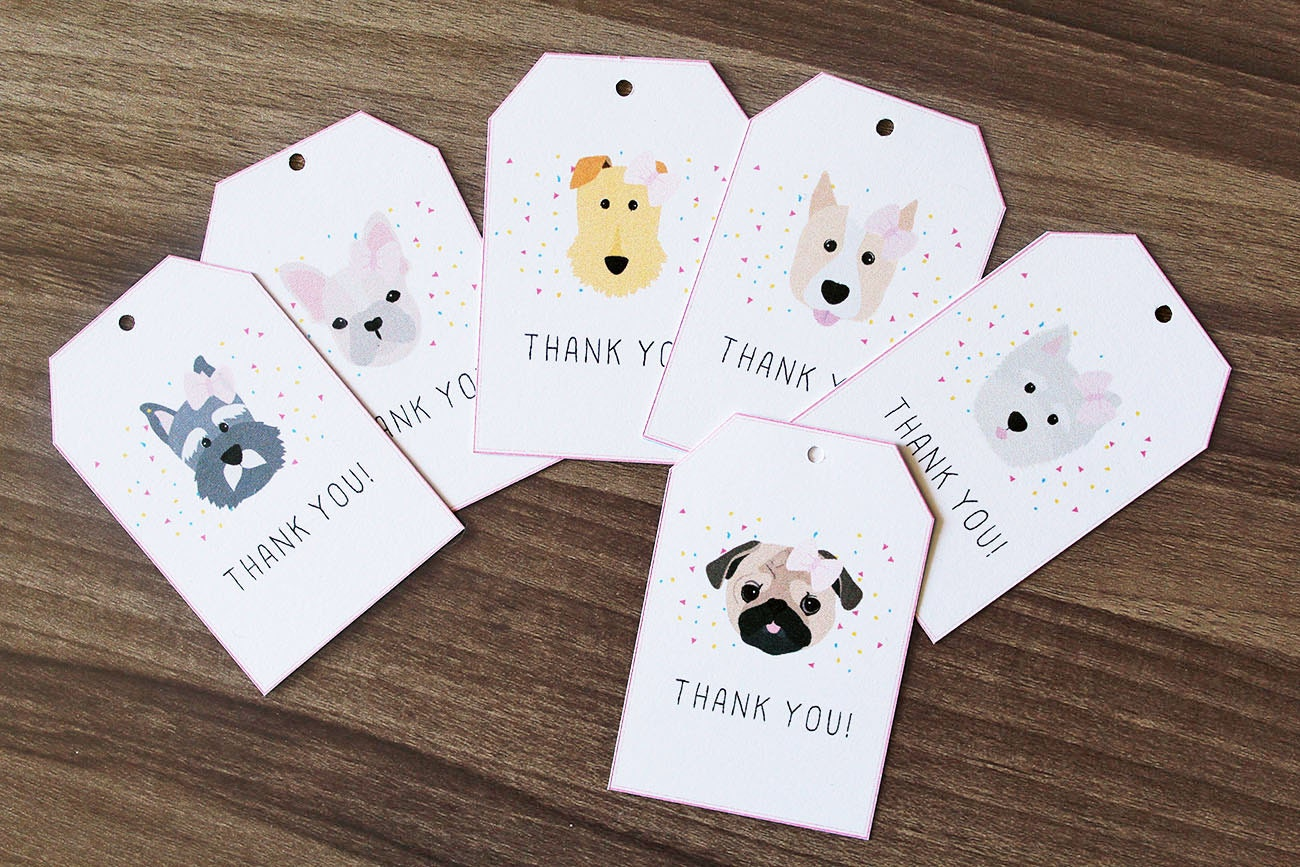 Set of 12 Thank You Gift Tags, Dog Thank You Tags, Dog Themed ...