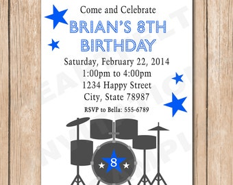 Drums Birthday Invitation - 1.00 each printed or 10.00 DIY file