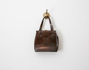 vintage 60s chocolate vinyl handbag