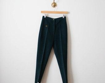 vintage 80s dark turquoise suede stirrup pants